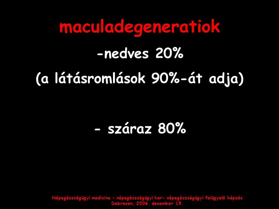 Népegészségügyi medicina – népegészségügyi kar- népegészségügyi felügyelő képzés Debrecen, 2006. december 19. maculadegeneratiok -nedves 20% (a látásr
