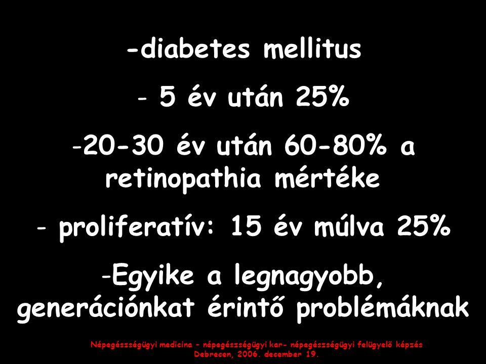 Népegészségügyi medicina – népegészségügyi kar- népegészségügyi felügyelő képzés Debrecen, 2006. december 19. -diabetes mellitus - 5 év után 25% -20-3
