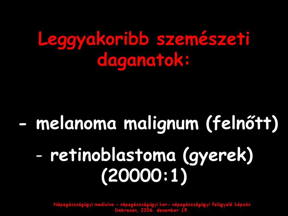 Népegészségügyi medicina – népegészségügyi kar- népegészségügyi felügyelő képzés Debrecen, 2006. december 19. Leggyakoribb szemészeti daganatok: - mel