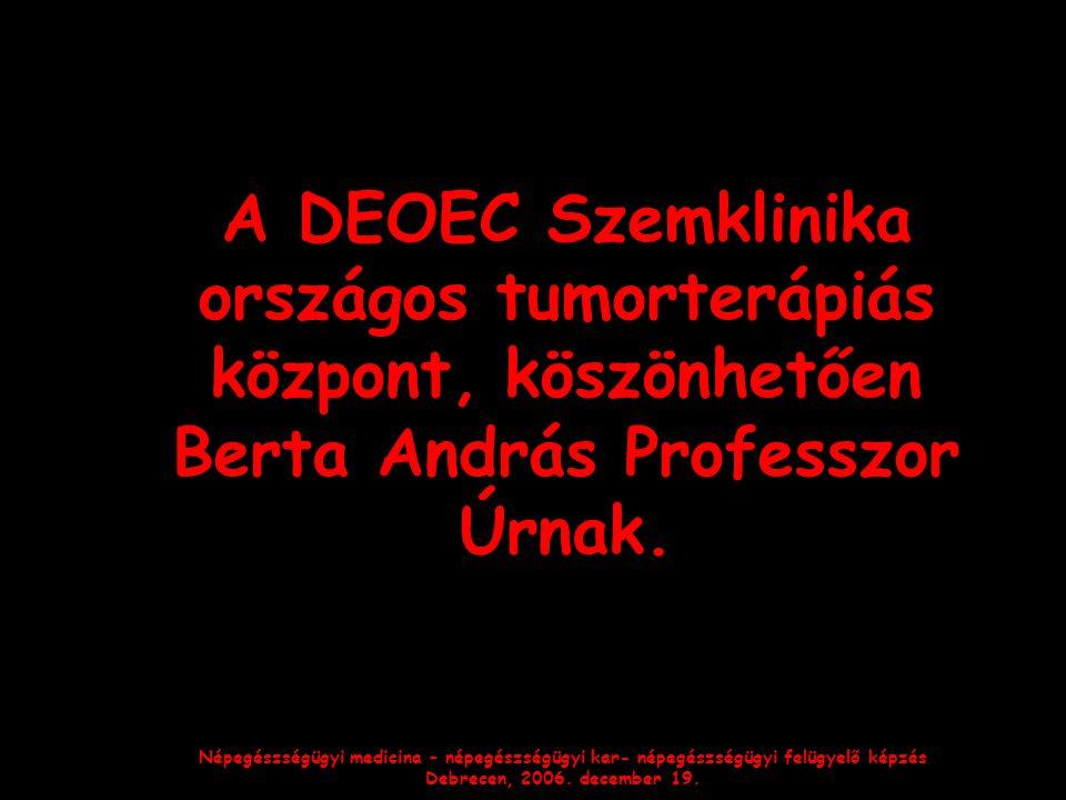 Népegészségügyi medicina – népegészségügyi kar- népegészségügyi felügyelő képzés Debrecen, 2006. december 19. A DEOEC Szemklinika országos tumorterápi