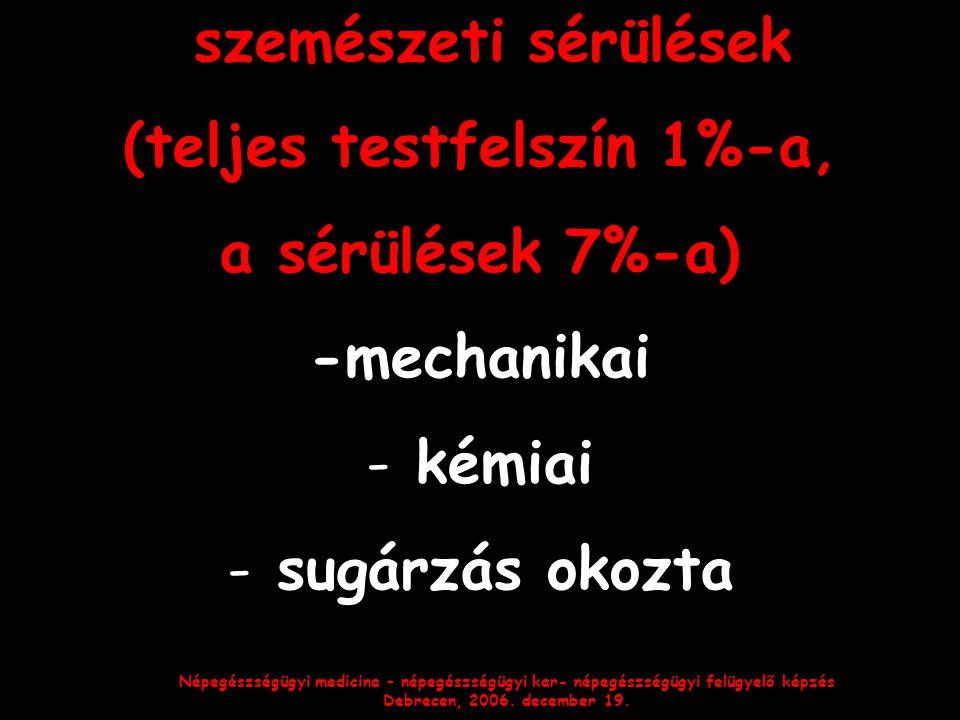 Népegészségügyi medicina – népegészségügyi kar- népegészségügyi felügyelő képzés Debrecen, 2006. december 19. szemészeti sérülések (teljes testfelszín