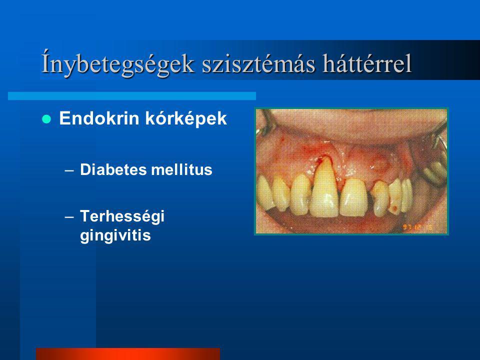 Ínybetegségek szisztémás háttérrel Endokrin kórképek –Diabetes mellitus –Terhességi gingivitis