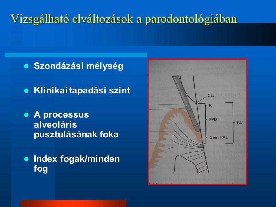 Vizsgálható elváltozások a parodontológiában Szondázási mélység Klinikai tapadási szint A processus alveoláris pusztulásának foka Index fogak/minden fog