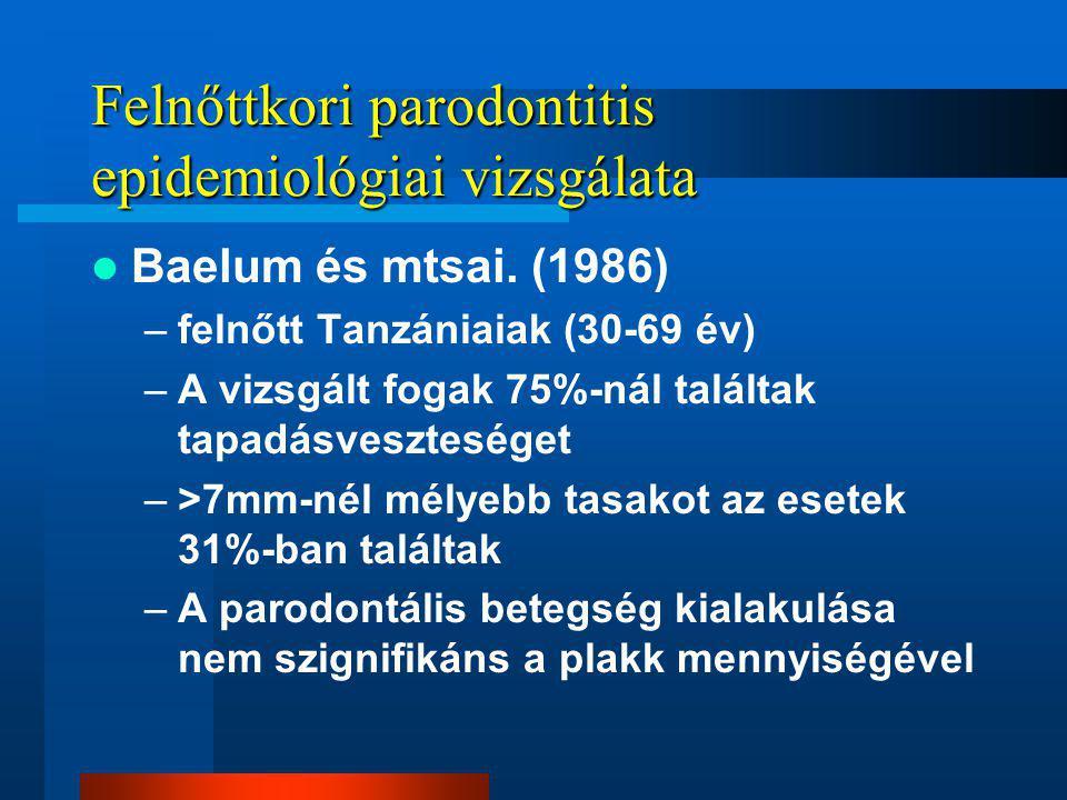 Felnőttkori parodontitis epidemiológiai vizsgálata Baelum és mtsai.