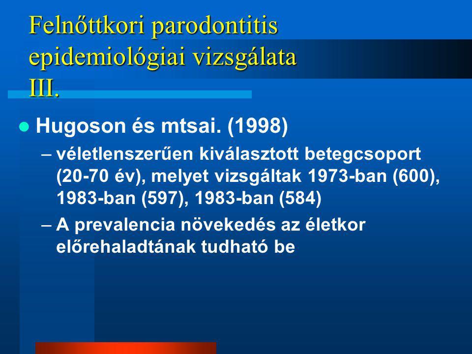 Felnőttkori parodontitis epidemiológiai vizsgálata III.