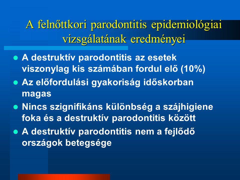A felnőttkori parodontitis epidemiológiai vizsgálatának eredményei A destruktív parodontitis az esetek viszonylag kis számában fordul elő (10%) Az előfordulási gyakoriság időskorban magas Nincs szignifikáns különbség a szájhigiene foka és a destruktív parodontitis között A destruktív parodontitis nem a fejlődő országok betegsége