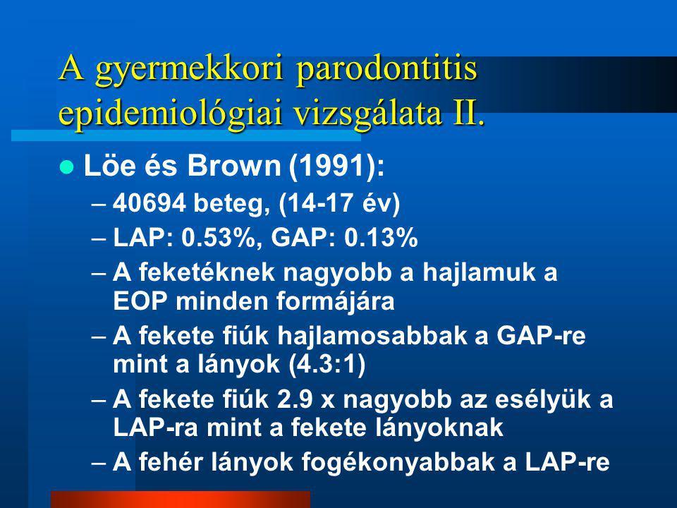 A gyermekkori parodontitis epidemiológiai vizsgálata II.