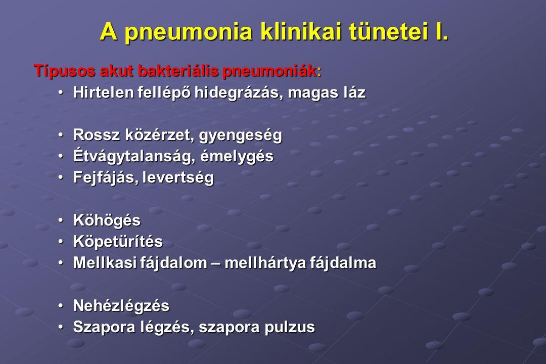 A pneumonia klinikai tünetei I.
