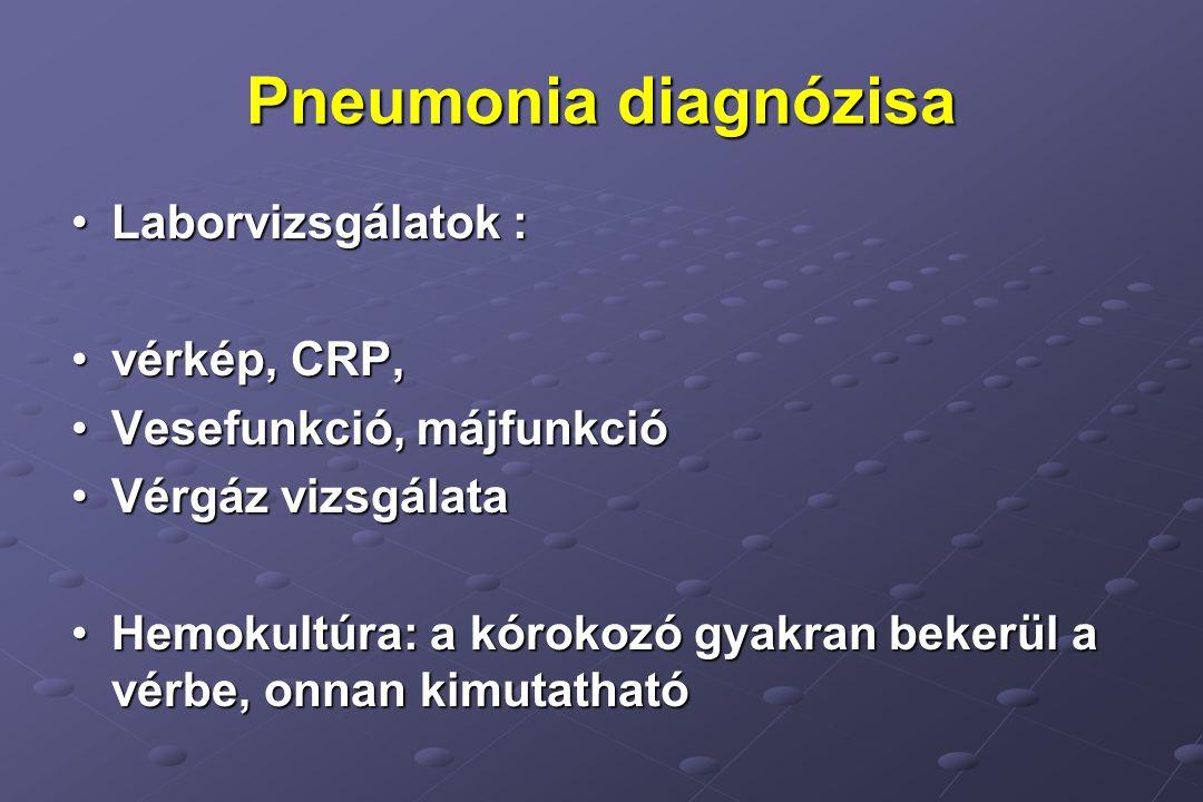 Pneumonia diagnózisa Laborvizsgálatok :Laborvizsgálatok : vérkép, CRP,vérkép, CRP, Vesefunkció, májfunkcióVesefunkció, májfunkció Vérgáz vizsgálataVérgáz vizsgálata Hemokultúra: a kórokozó gyakran bekerül a vérbe, onnan kimutathatóHemokultúra: a kórokozó gyakran bekerül a vérbe, onnan kimutatható