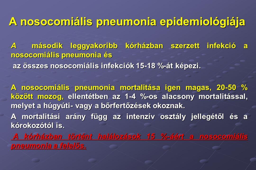 A nosocomiális pneumonia epidemiológiája A második leggyakoribb kórházban szerzett infekció a nosocomiális pneumonia és az összes nosocomiális infekciók 15-18 %-át képezi.