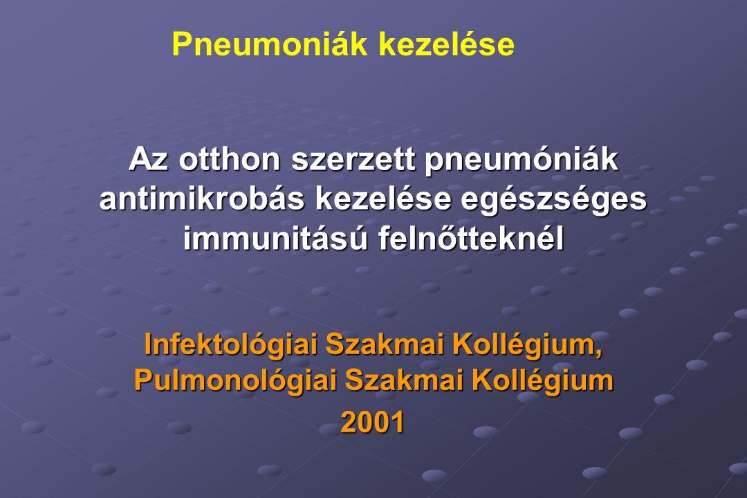 Az otthon szerzett pneumóniák antimikrobás kezelése egészséges immunitású felnőtteknél Infektológiai Szakmai Kollégium, Pulmonológiai Szakmai Kollégium 2001 Pneumoniák kezelése