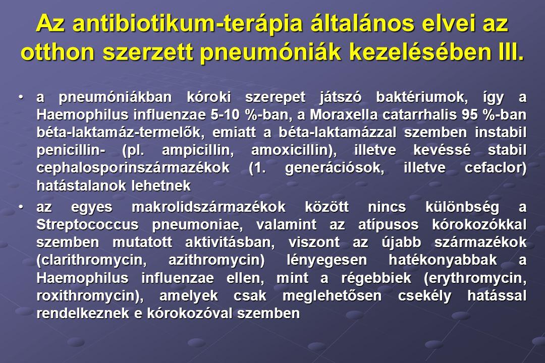 Az antibiotikum-terápia általános elvei az otthon szerzett pneumóniák kezelésében III.