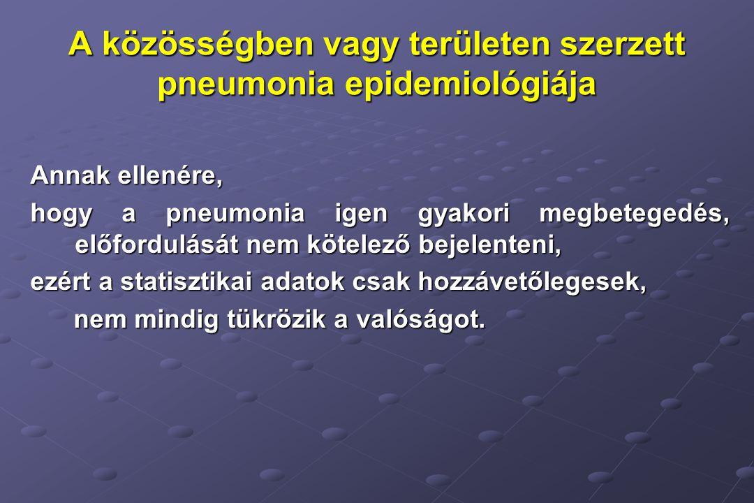 A közösségben vagy területen szerzett pneumonia epidemiológiája Annak ellenére, hogy a pneumonia igen gyakori megbetegedés, előfordulását nem kötelező bejelenteni, ezért a statisztikai adatok csak hozzávetőlegesek, nem mindig tükrözik a valóságot.