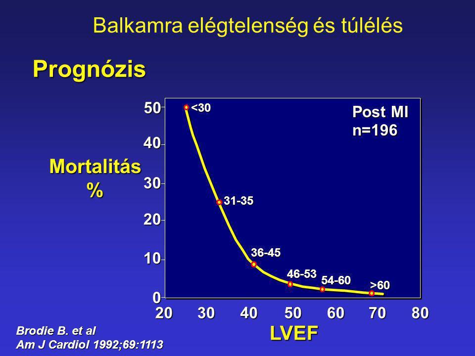 8070605040302054-60 >60 50 40 30 20 10 0 Post MI n=196 <30 31-35 36-45 46-53 Mortalitás % LVEF Brodie B. et al Am J Cardiol 1992;69:1113 Prognózis Bal
