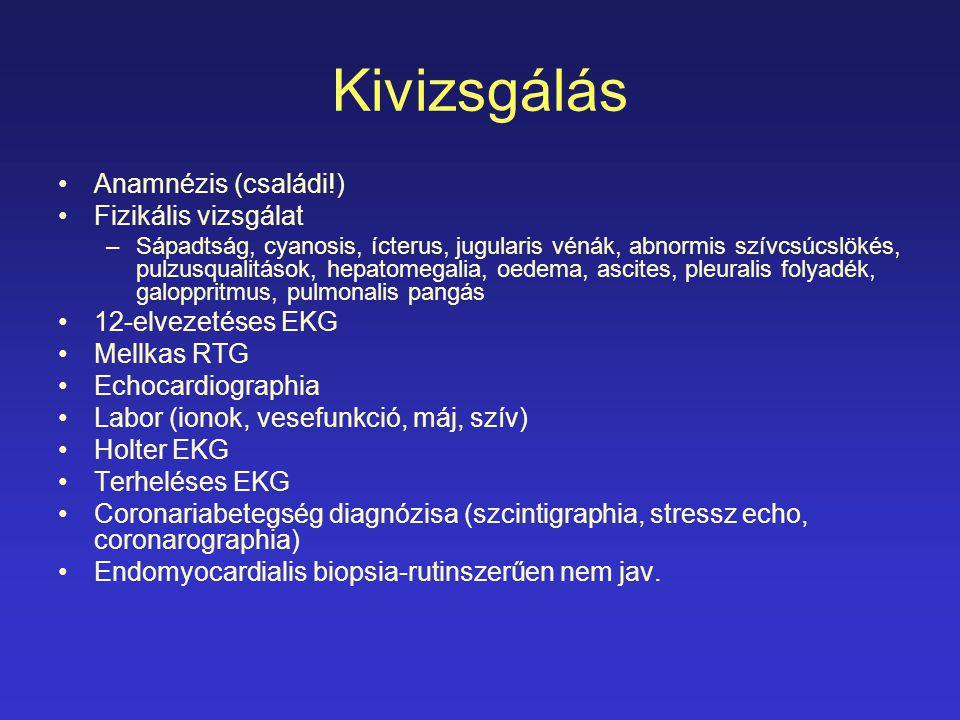 Kivizsgálás Anamnézis (családi!) Fizikális vizsgálat –Sápadtság, cyanosis, ícterus, jugularis vénák, abnormis szívcsúcslökés, pulzusqualitások, hepato