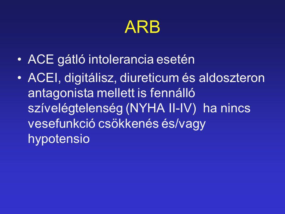 ARB ACE gátló intolerancia esetén ACEI, digitálisz, diureticum és aldoszteron antagonista mellett is fennálló szívelégtelenség (NYHA II-IV) ha nincs v