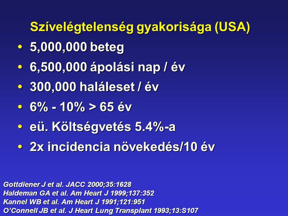Szívelégtelenség gyakorisága (USA) 5,000,000 beteg 5,000,000 beteg 6,500,000 ápolási nap / év6,500,000 ápolási nap / év 300,000 haláleset / év 300,000