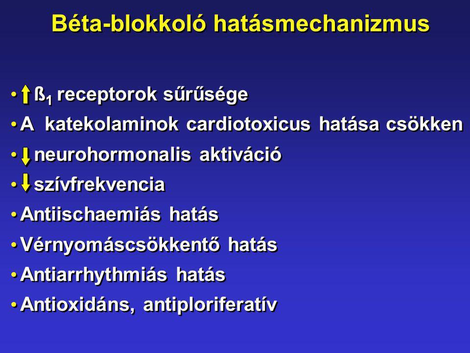 Béta-blokkoló hatásmechanizmus ß 1 receptorok sűrűsége A katekolaminok cardiotoxicus hatása csökken neurohormonalis aktiváció szívfrekvencia Antiischa