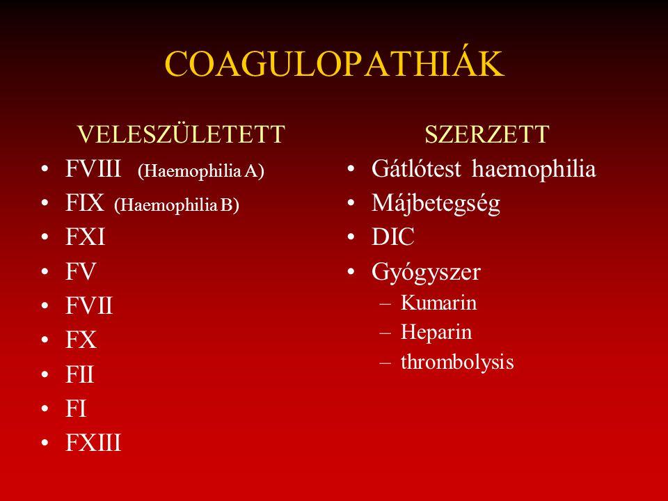 VELESZÜLETETT FVIII (Haemophilia A) FIX (Haemophilia B) FXI FV FVII FX FII FI FXIII SZERZETT Gátlótest haemophilia Májbetegség DIC Gyógyszer –Kumarin