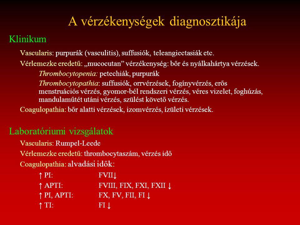 """A vérzékenységek diagnosztikája Klinikum Vascularis: purpurák (vasculitis), suffusiók, teleangiectasiák etc. Vérlemezke eredetű: """"mucocutan"""" vérzékeny"""