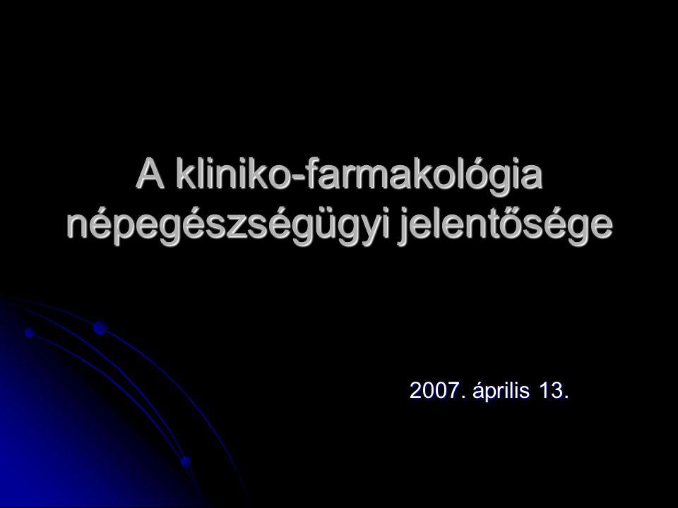 A kliniko-farmakológia népegészségügyi jelentősége 2007. április 13.