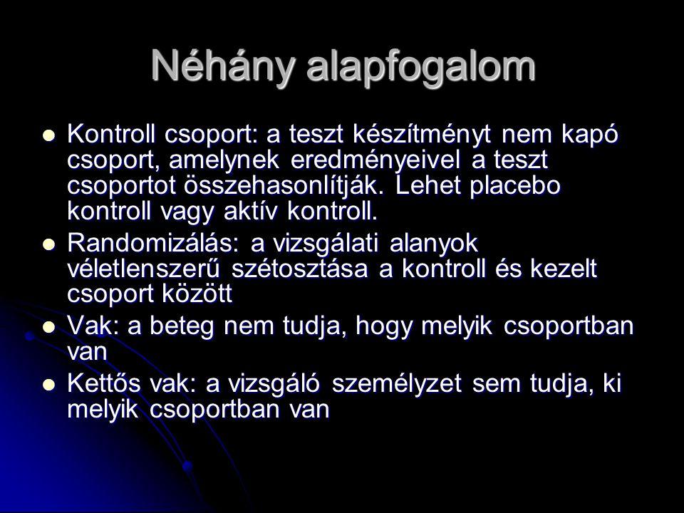 Néhány alapfogalom Kontroll csoport: a teszt készítményt nem kapó csoport, amelynek eredményeivel a teszt csoportot összehasonlítják. Lehet placebo ko