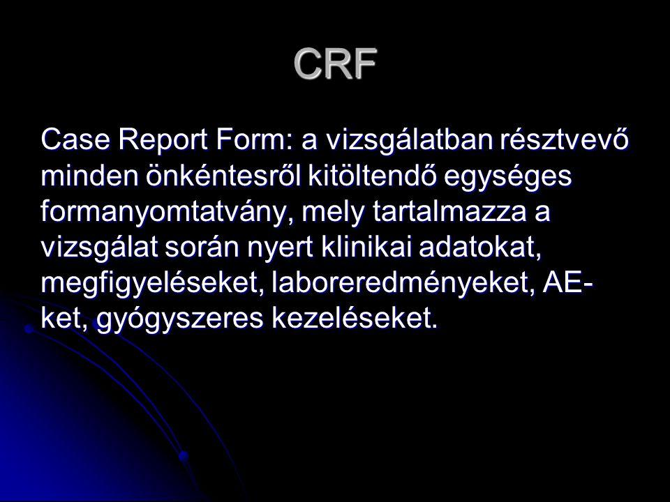 CRF Case Report Form: a vizsgálatban résztvevő minden önkéntesről kitöltendő egységes formanyomtatvány, mely tartalmazza a vizsgálat során nyert klini