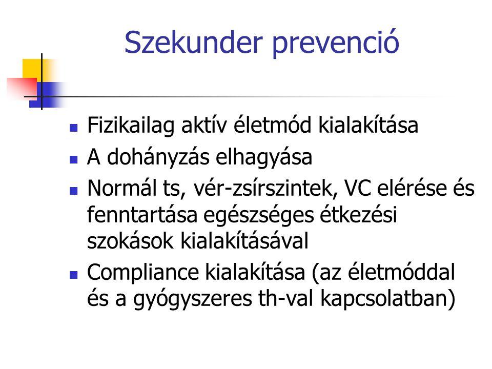 Szekunder prevenció Fizikailag aktív életmód kialakítása A dohányzás elhagyása Normál ts, vér-zsírszintek, VC elérése és fenntartása egészséges étkezé