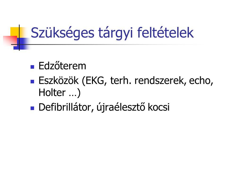 Szükséges tárgyi feltételek Edzőterem Eszközök (EKG, terh. rendszerek, echo, Holter …) Defibrillátor, újraélesztő kocsi