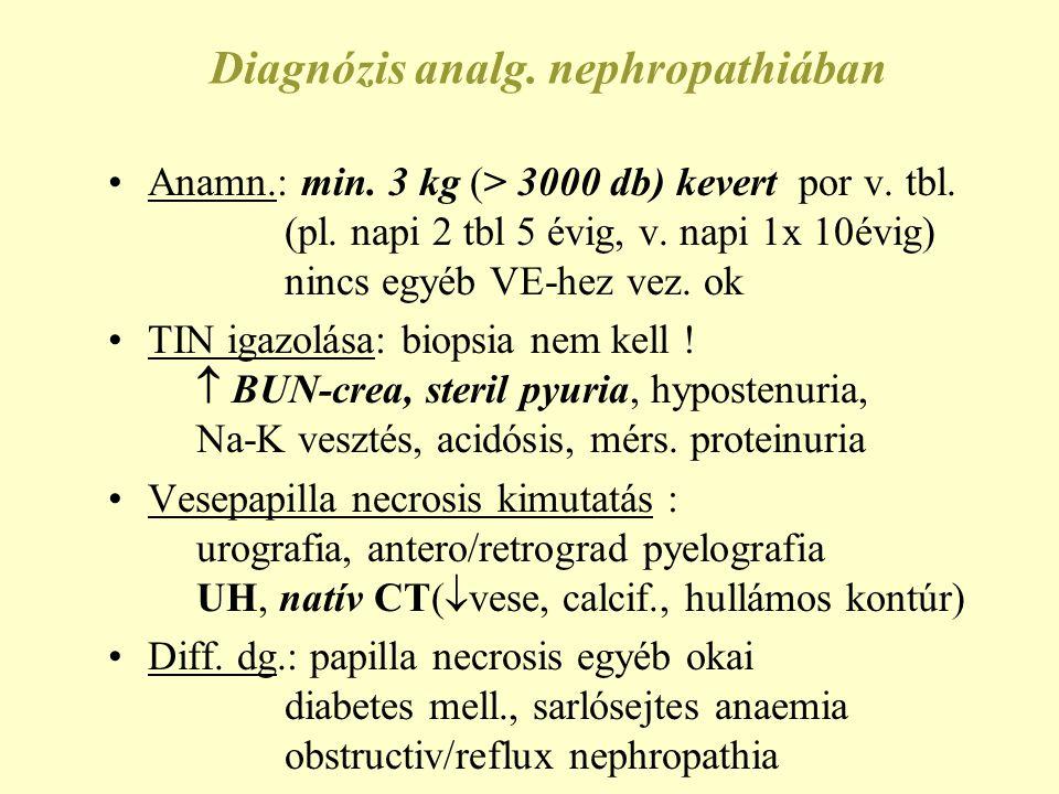 Terápia analgetikum nephropathiában Analgetikum, NSAID szedés teljes abbahagyása dializáltban is.