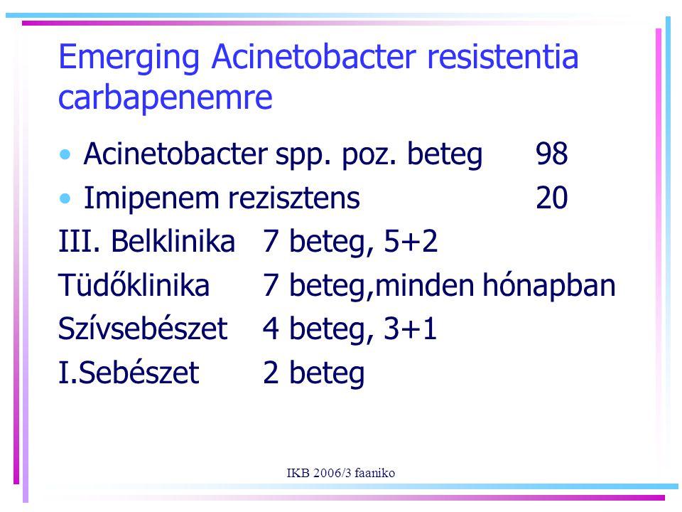 IKB 2006/3 faaniko Emerging Acinetobacter resistentia carbapenemre Acinetobacter spp.