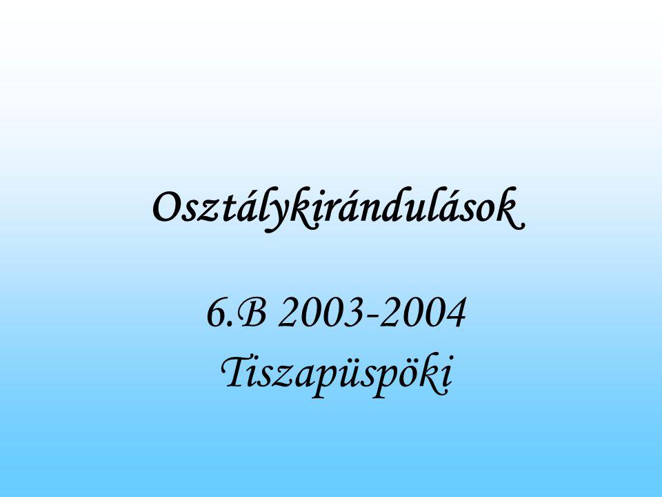 Osztálykirándulások 6.B 2003-2004 Tiszapüspöki
