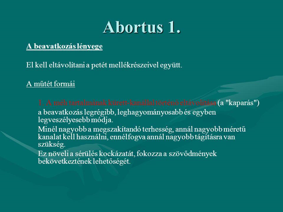 Abortus 1.A beavatkozás lényege El kell eltávolítani a petét mellékrészeivel együtt.
