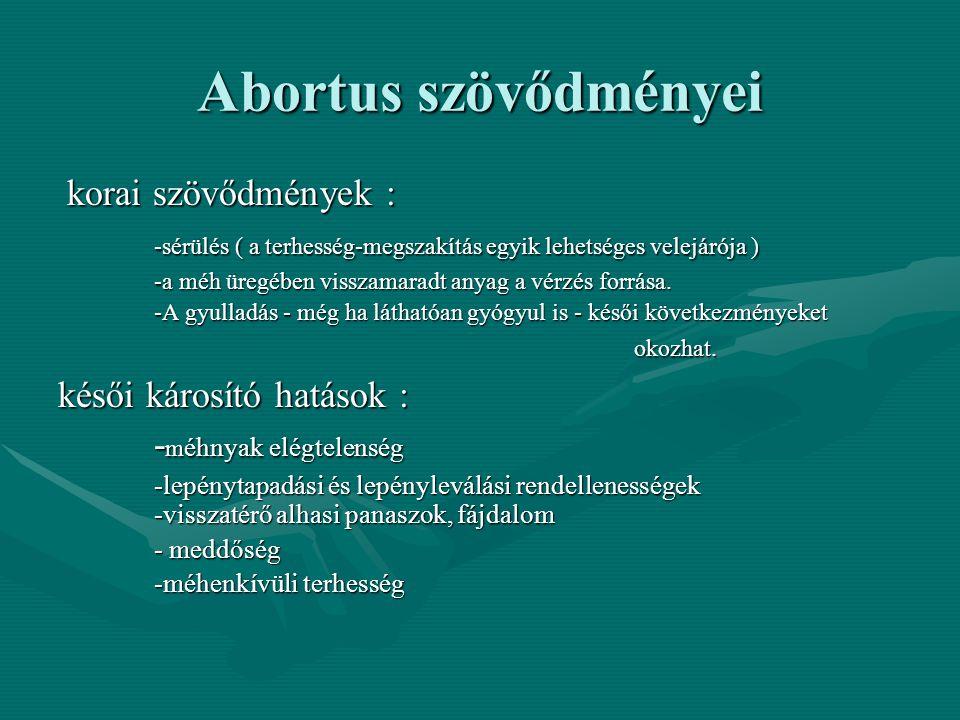 Abortus szövődményei korai szövődmények : korai szövődmények : -sérülés ( a terhesség-megszakítás egyik lehetséges velejárója ) -a méh üregében visszamaradt anyag a vérzés forrása.