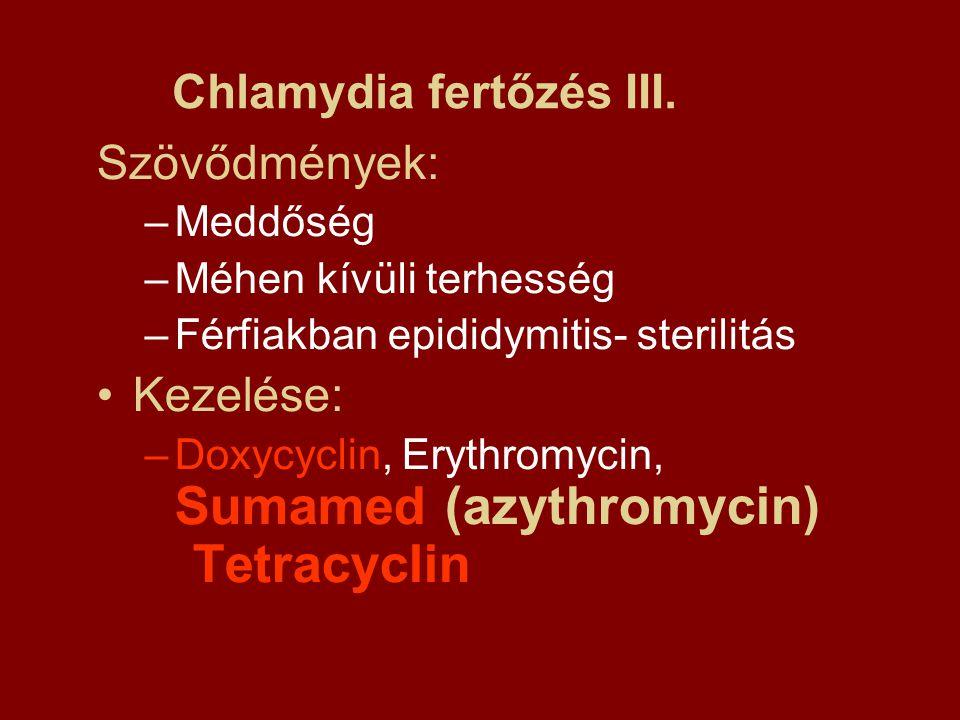 Szövődmények: –Meddőség –Méhen kívüli terhesség –Férfiakban epididymitis- sterilitás Kezelése: –Doxycyclin, Erythromycin, Sumamed (azythromycin) Tetra