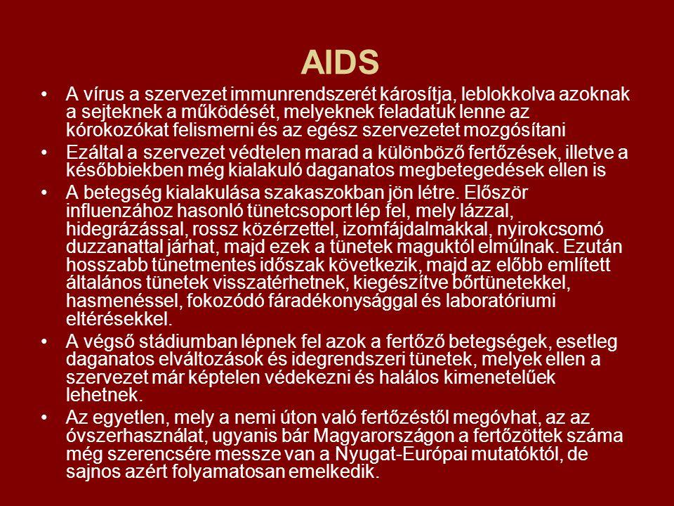 AIDS A vírus a szervezet immunrendszerét károsítja, leblokkolva azoknak a sejteknek a működését, melyeknek feladatuk lenne az kórokozókat felismerni é