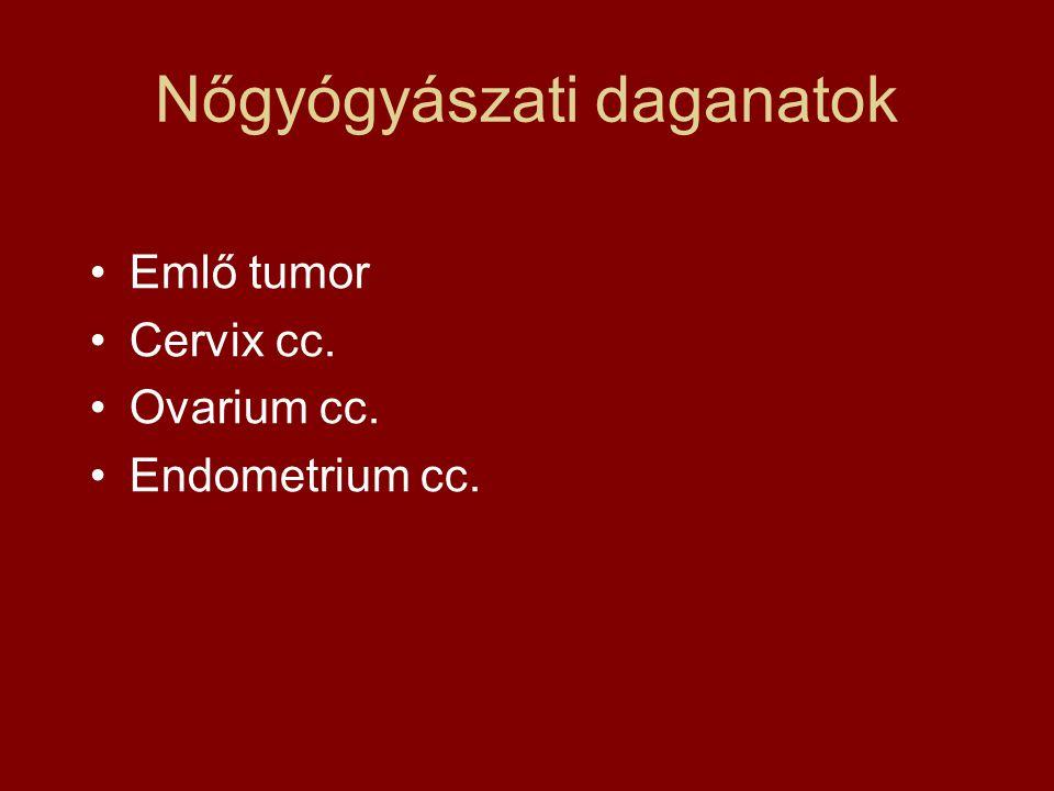 Nőgyógyászati daganatok Emlő tumor Cervix cc. Ovarium cc. Endometrium cc.