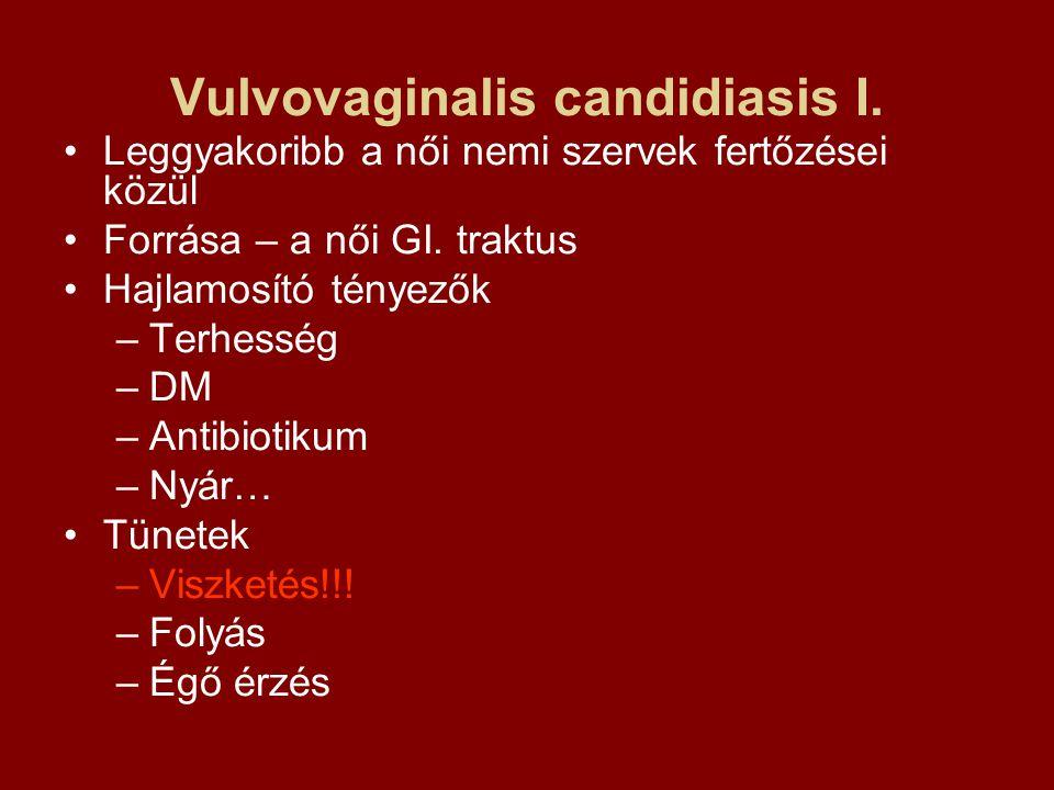 Vulvovaginalis candidiasis I. Leggyakoribb a női nemi szervek fertőzései közül Forrása – a női GI. traktus Hajlamosító tényezők –Terhesség –DM –Antibi