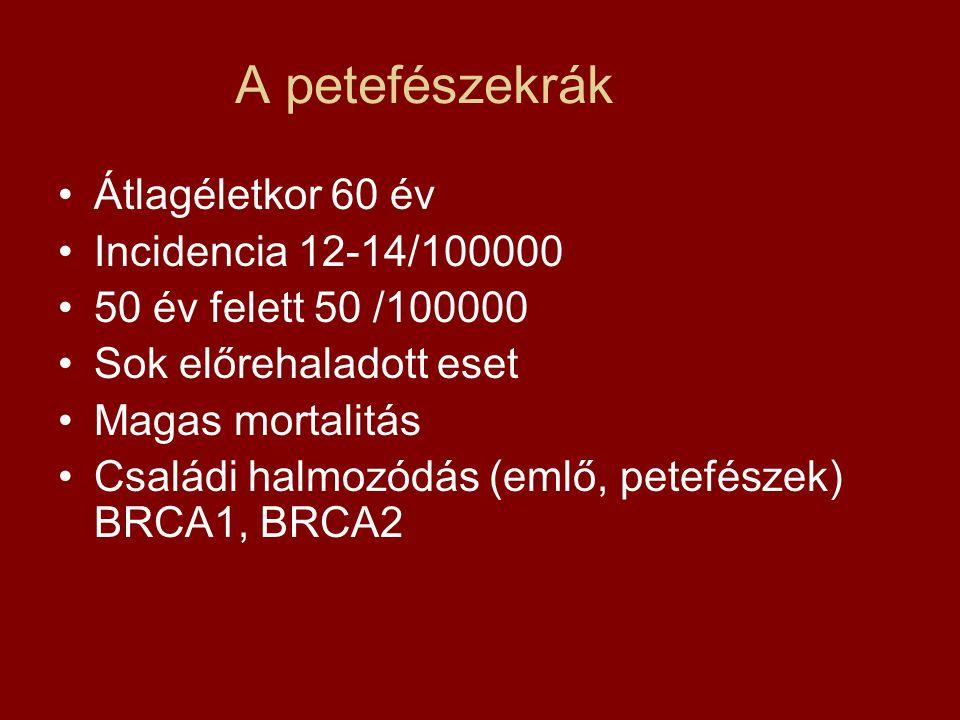 A petefészekrák Átlagéletkor 60 év Incidencia 12-14/100000 50 év felett 50 /100000 Sok előrehaladott eset Magas mortalitás Családi halmozódás (emlő, p