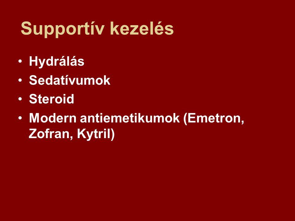 Supportív kezelés Hydrálás Sedatívumok Steroid Modern antiemetikumok (Emetron, Zofran, Kytril)