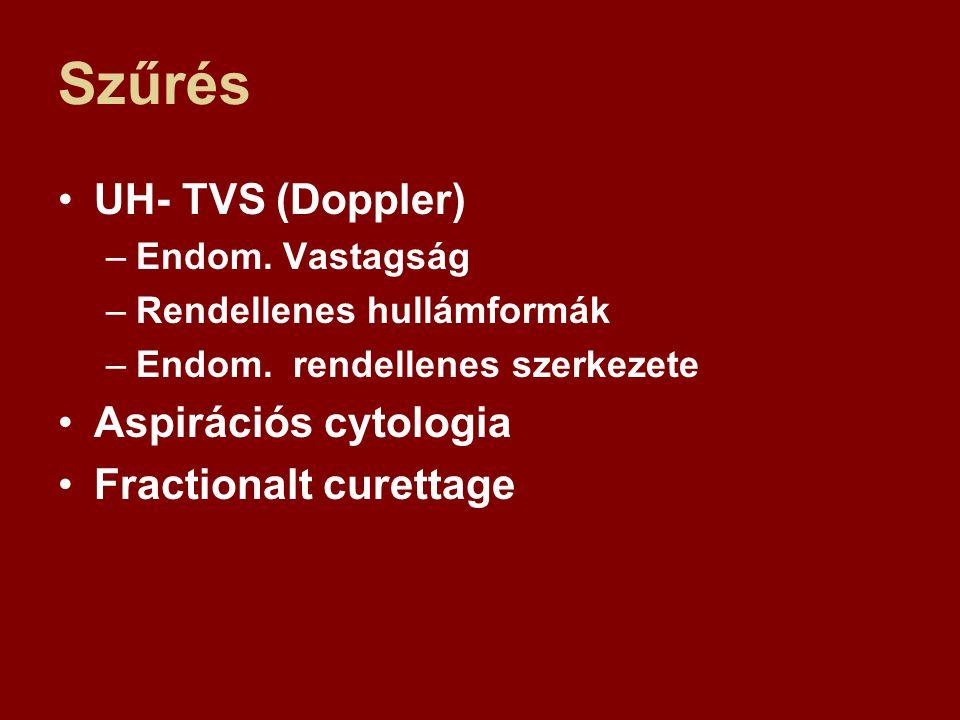 Szűrés UH- TVS (Doppler) –Endom. Vastagság –Rendellenes hullámformák –Endom. rendellenes szerkezete Aspirációs cytologia Fractionalt curettage