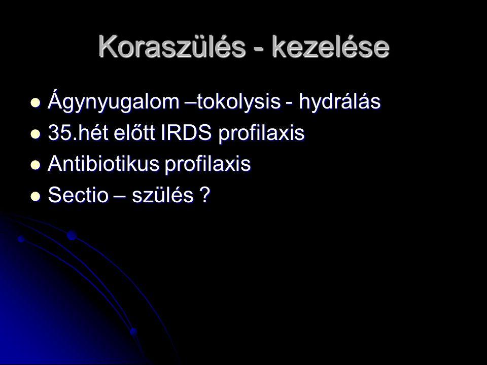 Koraszülés - kezelése Ágynyugalom –tokolysis - hydrálás Ágynyugalom –tokolysis - hydrálás 35.hét előtt IRDS profilaxis 35.hét előtt IRDS profilaxis An