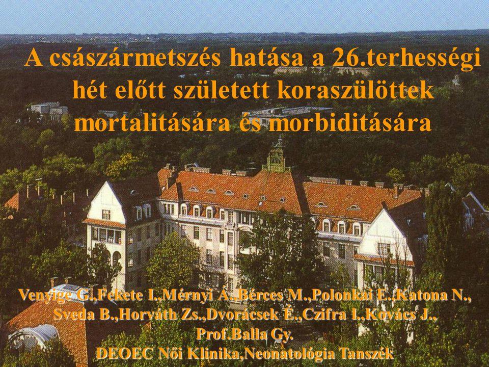 A császármetszés hatása a 26.terhességi hét előtt született koraszülöttek mortalitására és morbiditására Venyige G.,Fekete I.,Mérnyi Á.,Bérces M.,Polo