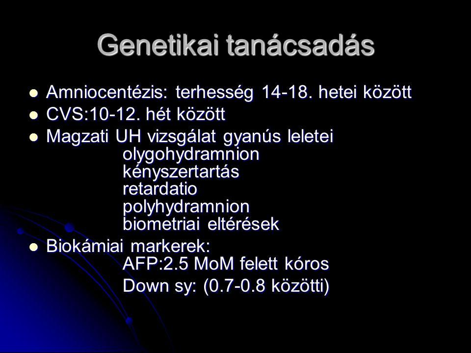 Genetikai tanácsadás Amniocentézis: terhesség 14-18. hetei között Amniocentézis: terhesség 14-18. hetei között CVS:10-12. hét között CVS:10-12. hét kö