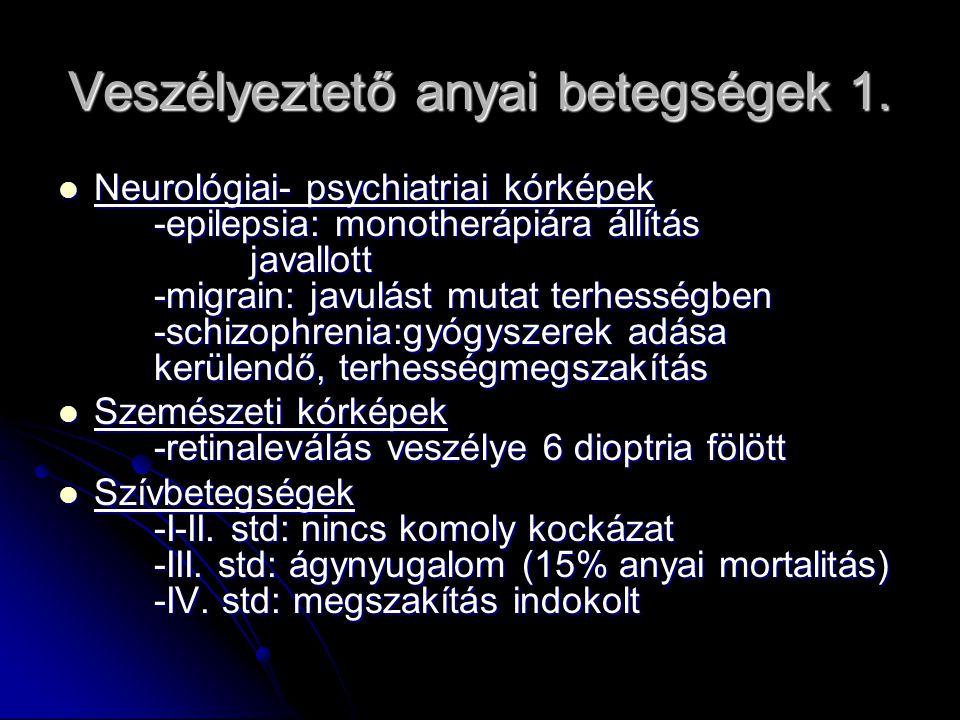 Veszélyeztető anyai betegségek 1. Neurológiai- psychiatriai kórképek -epilepsia: monotherápiára állítás javallott -migrain: javulást mutat terhességbe