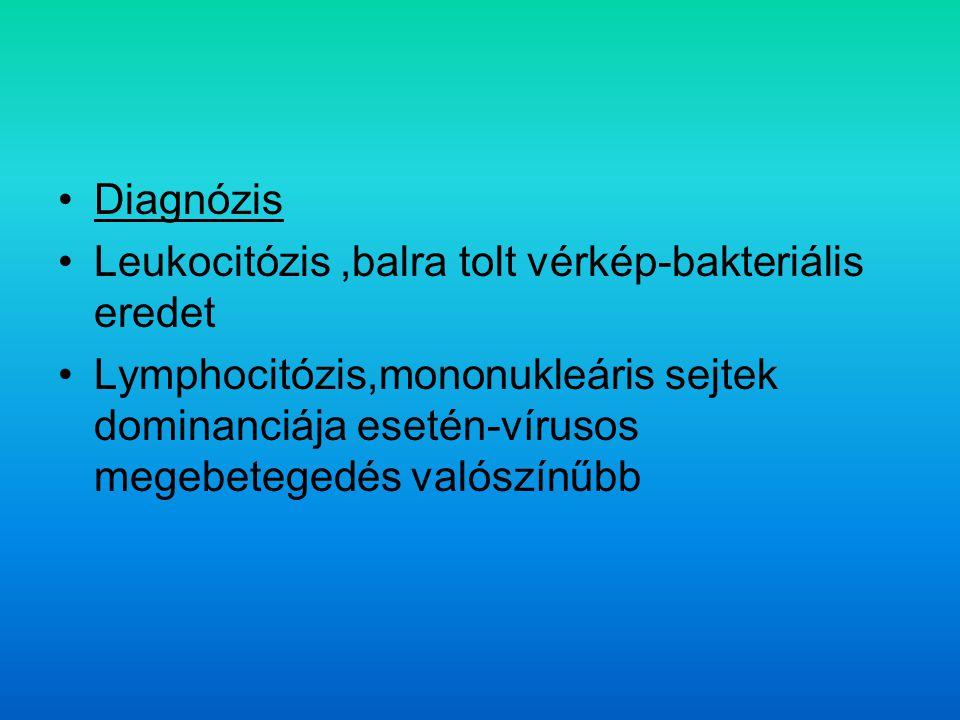 Diagnózis Leukocitózis,balra tolt vérkép-bakteriális eredet Lymphocitózis,mononukleáris sejtek dominanciája esetén-vírusos megebetegedés valószínűbb