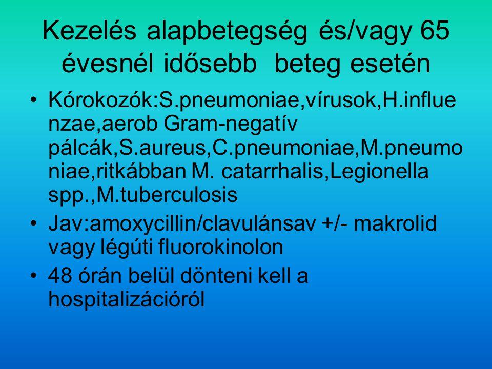 Kezelés alapbetegség és/vagy 65 évesnél idősebb beteg esetén Kórokozók:S.pneumoniae,vírusok,H.influe nzae,aerob Gram-negatív pálcák,S.aureus,C.pneumoniae,M.pneumo niae,ritkábban M.