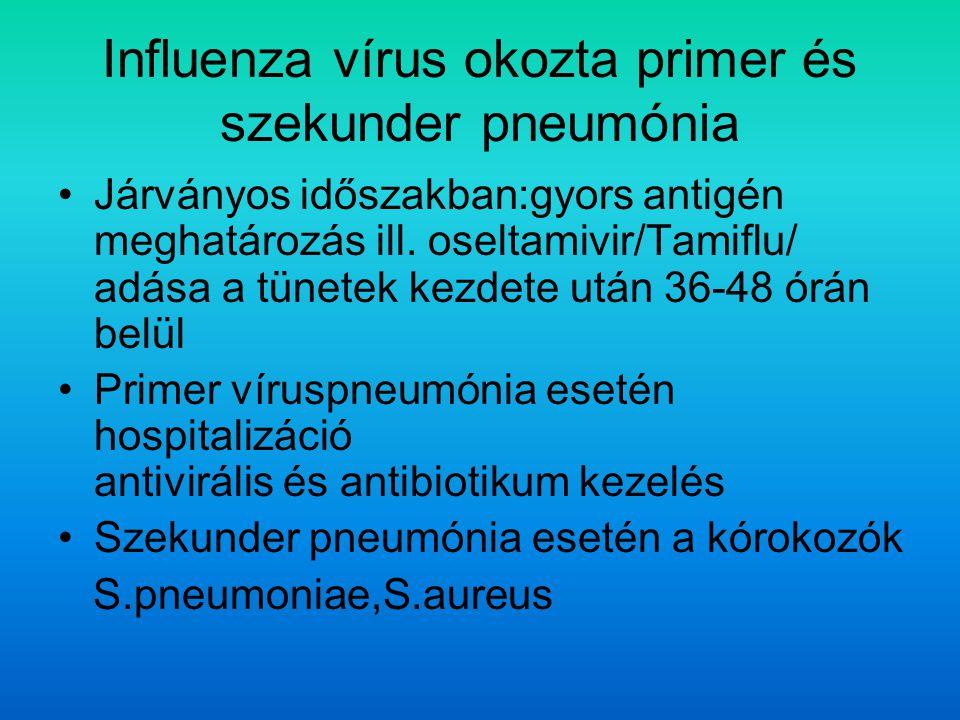 Influenza vírus okozta primer és szekunder pneumónia Járványos időszakban:gyors antigén meghatározás ill.