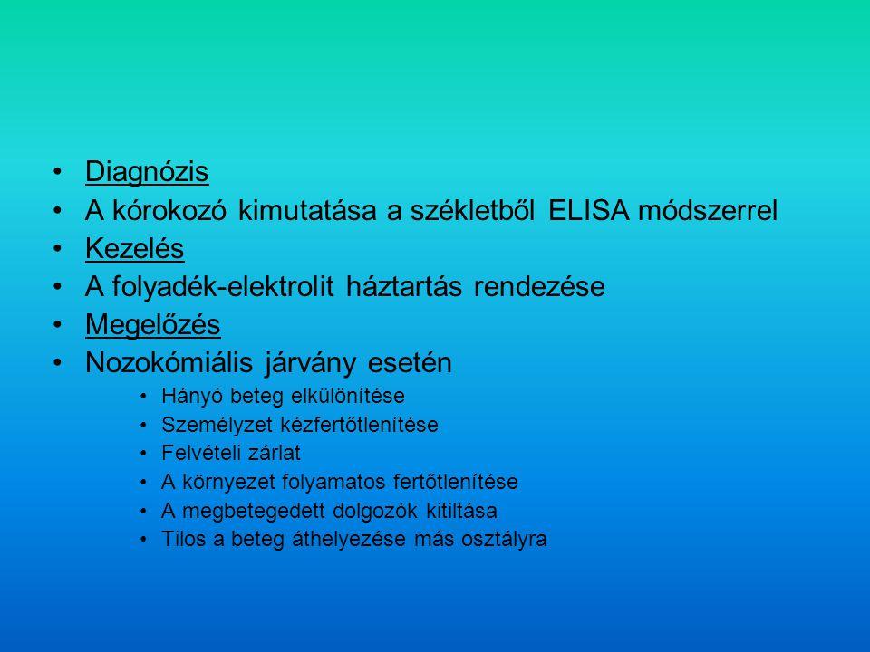 Diagnózis A kórokozó kimutatása a székletből ELISA módszerrel Kezelés A folyadék-elektrolit háztartás rendezése Megelőzés Nozokómiális járvány esetén Hányó beteg elkülönítése Személyzet kézfertőtlenítése Felvételi zárlat A környezet folyamatos fertőtlenítése A megbetegedett dolgozók kitiltása Tilos a beteg áthelyezése más osztályra