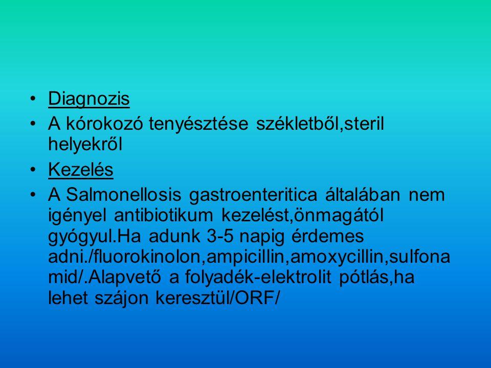 Diagnozis A kórokozó tenyésztése székletből,steril helyekről Kezelés A Salmonellosis gastroenteritica általában nem igényel antibiotikum kezelést,önmagától gyógyul.Ha adunk 3-5 napig érdemes adni./fluorokinolon,ampicillin,amoxycillin,sulfona mid/.Alapvető a folyadék-elektrolit pótlás,ha lehet szájon keresztül/ORF/